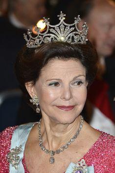 Queen Silvia of Sweden attends the Nobel Prize Banquet after the 2013 Nobel Prize Awards Ceremony at City Hall on December 10, 2013 in Stockholm, Sweden.