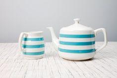 Carrigaline Pottery Tea Pot and Creamer Ireland Cornishware, County Cork, Blue Stripes, Tea Pots, Ireland, Collections, Cottage, Pottery, Interiors