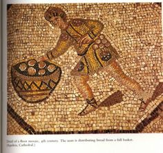 Mosaic of a man with a basket of bread rolls. 4th c. CE. Aquileia Cathedral
