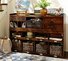 Olivia 2-Piece Bench & Organizer | Pottery Barn for entry way.  Something to think abt after the car is paid off.  $1,098.00
