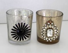 from Dollar Store Crafts made these glam votive candle holders use earrings on votives