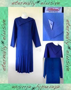 ST MICHAEL 80s VTG Art Deco Dropped Waist Flapper Long Midi Wool Dress Size L 14   01.24