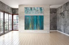 Large Teal and White Abstract Painting by CMFA