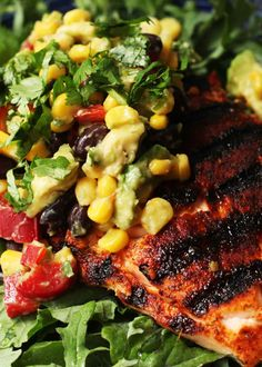Add avocado salad: Yummy, Corn Salsa Over Grilled Salmon Recipe #OrganicChats #recipe #food @Melissa Squires McKenzie Gillis