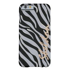 Chic black and grey zebra print monogram barely there iPhone 6 case