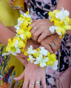 Hawaiian style flower corsage, perfect for a beach wedding