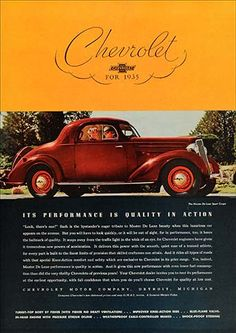 1935 Chevrolet Master DeLuxe Sport Coupe Chevrolet Usa, Ad Car, Best Classic Cars, Car Posters, Car Advertising, Old Signs, Station Wagon, Print Ads, Car Pictures