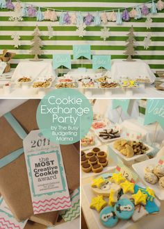 """Cookie Exchange Party - Lots of Budget Friendly DIY details.. Cookie Voting Ballots and Award Tags.. DIY """"Cast your Vote"""" Table Display.. Tissue Paper Tassel Garland"""