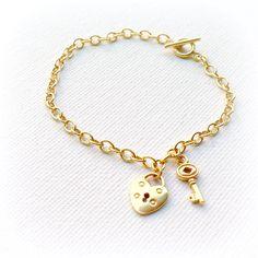 Gold Charm Bracelet Lock and Key Bracelet by jewelrybycarmal, $42.00