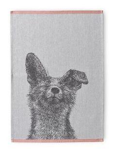 Finlayson Kettu Tea Towel Set An adorable black and white fox graces this set of two tea towels. Yellow Hand Towels, Green Tea Towels, Green Hand Towels, Grey Bath Towels, White Hand Towels, Guest Towels, Rat, Towel Set, Kitchenware