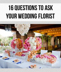 16 Questions to Ask Your Florist. Definitely helps to remember the little details, like who will light the candles? I'm afraid I'll forget and walk into a reception of unlit candle centerpieces lol Wedding Wishes, Our Wedding, Dream Wedding, Art Floral, Flower Decorations, Wedding Decorations, Estilo Floral, Wedding Bouquets, Wedding Flowers