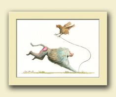 Hamadryas Baboon monkey animal with hen - monkey wildlife animal decor - animal life wall art - Original watercolor painting- Juan Bosco