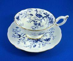 "Cobalt Blue Birds "" Cairo "" Coalport Tea Cup and Saucer Set"
