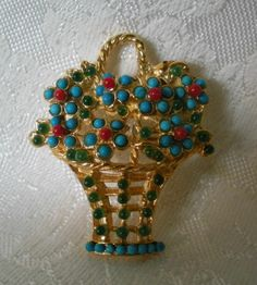 SWOBODA FLOWER BASKET PIN BROOCH ~ TURQUOISE, CORAL, PERIDOT ~ GORGEOUS!