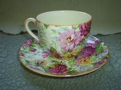 Crown Ducal 'Peony' Chintz Cup & Saucer