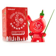 "The Sketracha 3"" Dunny by LA artist, SKET ONE, is back for purchase at Kidrobot.com! This DUNNY is designed to resemble a Sriracha bottle and is outfitted perfectly with a pair of chopsticks. Spice up"