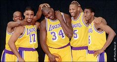 Nick Van Excel, Rick Fox, Shaq, Horry and Eddie Jones
