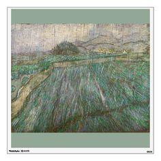 Wheat Field in Rain by Vincent Van Gogh Room Sticker