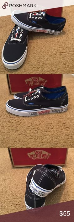 Authentic Vans Checker Tape Sneakers New in box. Dress blue Vans Shoes Sneakers