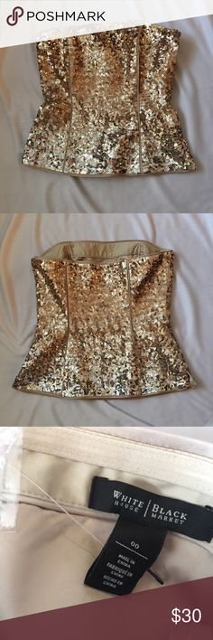 Gold ombré Bustier This is a beautiful NWOT bustier from White House Black Market. No flaws. Side zip and hook closure. White House Black Market Tops