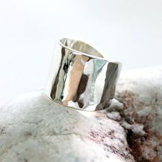 Wide band ring/ Sterling silver shiny cuff ring/ by rosajuri, $59.00