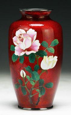 A Japanese Antique Silver Ando Cloisonne Vase. 1/11, 2pm. Circa 1900