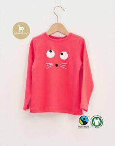 T shirt rose vif coton bio enfant fille la queue du chat w16 ref34
