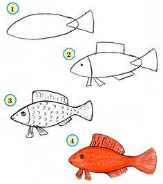 Простые и интересные схемки рисунков для детей. Рыбка, Кошечка, Слонёнок и другие / Уроки рисования карандашом для детей, учимся рисовать поэтапно, домашние детские рисунки / Лунтики. Развиваем детей. Творчество и игрушки