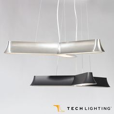 Three straight, softly sculpted, tapered extensions that diverge from the middle in opposite directions, Tech Lighting Zhane Trio Pendant Light. #TechLighting #PendantLight #LED Available at loftmodern.com  http://www.loftmodern.com/products/tech-lighting-zhane-trio-pendant-light