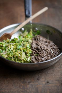 Naturally Ella | Shaved Brussels Sprouts and Soba Noodles with Ginger-Honey Sauce | Naturally Ella