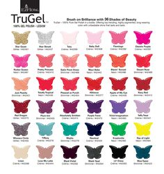 EzFlow TruGel. Brush on Brilliance with 36 Shades of Beauty.  TruGel – 100% Pure Gel Polish in a bottle. Offering top trending, highly-pigmented, long-wearing color with unbeatable shine that lasts and lasts. Colour chart attached for your convenience.  https://www.salonfirst.com.au/search?per_page=50&product_page=1&q=trugel