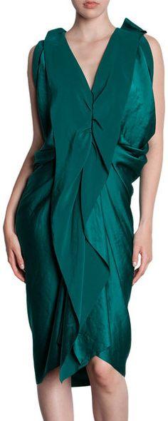 LANVIN DRAPED Ruffle Front Sleeveless Dress