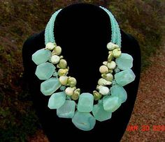 Chunky Necklace with Pale Green Freshwater Coin Pearls  & Large Chalcedony or Amazonite Nuggets