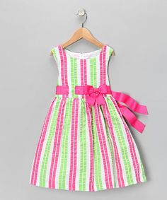 Pink & Lime Seersucker Dress - Girls  by Rare Editions on #zulily today! $13.99 [Wish they had baby girl's size. So cute! -khh]