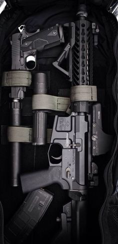 AR-15 Double D Armory rifle and 1911 pistol.