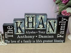 Family Name Blocks Parents Anniversary Gift Family Room