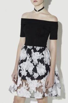 Elegant Off The Shoulder A-Line Sheer Floral Print Sexy Dress