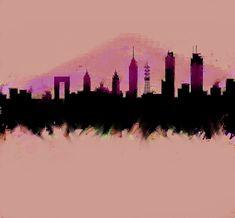 Mexico City Skyline Df by Enki Art City Skylines, Mexico City, Cities, Greeting Cards, Wall Art, City, Wall Decor, Mexico