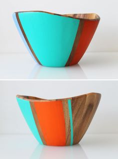 DIY: color-blocked wooden bowls for gifts Wooden Fork, Wooden Bowls, Wooden Spoons, Crafts To Make, Diy Crafts, Simple Geometric Pattern, Home Goods Store, Hacks Diy, Wood Turning