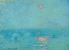 Claude Monet Waterloo Bridge: Sun in the Fog, 1903 beautiful color and water for career and wealth artwork Monet Paintings, Impressionist Paintings, Landscape Paintings, Impressionism Art, Landscapes, Claude Monet, Artist Monet, Wassily Kandinsky, Famous Art