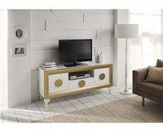 Mesa TV moderna lacado brillo 194-2012 Blanco