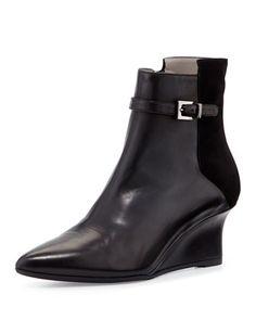 Deniz Leather Wedge Bootie, Black by Aquatalia