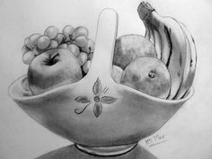 Pencil Sketch Drawing, Art Drawings Sketches, Pencil Drawings, Still Life Sketch, Still Life Drawing, Nature Pictures, Art Pictures, Vegetable Painting, Object Drawing