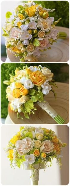 Yellow rose bridal bouquet with artificial flowers Rose Bridal Bouquet, Bride Bouquets, Bridal Flowers, Yellow Bouquets, Floral Bouquets, Deco Floral, Arte Floral, Yellow Wedding Flowers, Yellow Roses