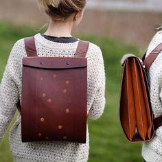 Carapacho Chestnut leather backbag