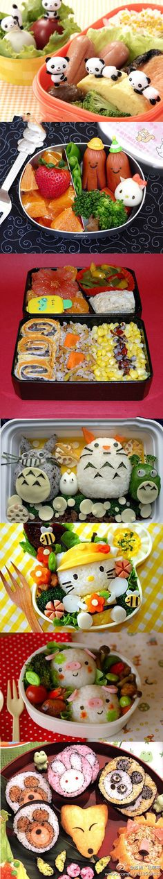 Aww these bento boxes are so cute and creative I love the totoro one Cute Food, I Love Food, Good Food, Yummy Food, Bento Recipes, Baby Food Recipes, Bento Ideas, Japanese Food Art, Japanese Lunch