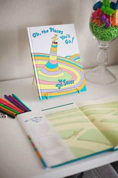 Dr. Seuss Party: oh the places you'll go party theme; oh the places you'll go birthday book
