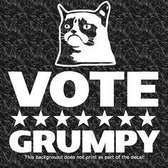 VOTE GRUMPY DECAL STICKER GRUMPY FOR PRESIDENT HATE POLITICS CORRUPTION LIES