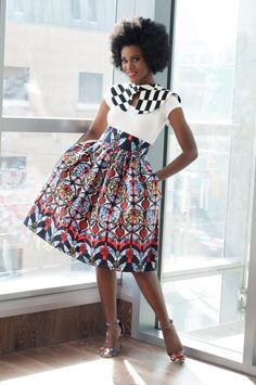 In love 😍 Akiva Ankara African Print Skirt. Evening and party skirt. Made of cotton Ankara African wax fabric. African Fashion Designers, African Fashion Ankara, Ghanaian Fashion, African Inspired Fashion, African Print Fashion, Africa Fashion, Nigerian Fashion, African Print Skirt, African Print Dresses