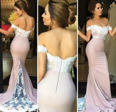 DESCRIPTION:Nude off the shoulder mermaid with lace sweep train jersey prom…